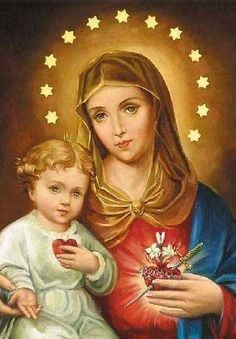 Sacred Heart of Jesus & Immaculate heart of Mary They're inseparable , you cannot have one without the other. Mary leads us to Jesus.