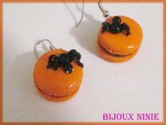 Boucles d'oreilles halloween macaron  araignée - boucle d oreille percée - kawaiinie - Fait Maison