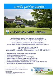 Golfclub Capelle Open Golfdagen op 23 en 24 september 2017. Word lid per 1 januari 2018 en speel de rest van 2017 gratis! Golf Websites, 24 September, Disc Golf, Golf Tips, Golf Clubs, Golf Courses, Country, Youtube, Rural Area