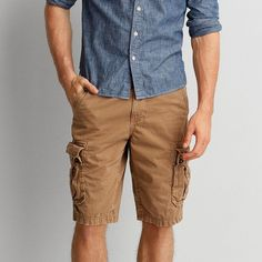 AE Longer Length Cargo Short ($34) ❤ liked on Polyvore featuring men's fashion, men's clothing, men's shorts, brown, mens lightweight cargo shorts, american eagle mens shorts, mens cargo shorts, mens embroidered shorts and american eagle mens cargo shorts