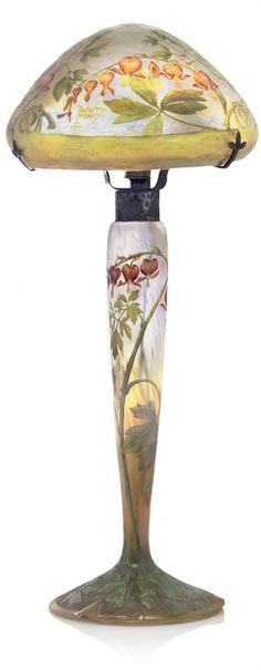 DAUM FRÈRES - 'COEURS-DE-MARIE' ENAMELLED CAMEO LAMP, CIRCA 1908