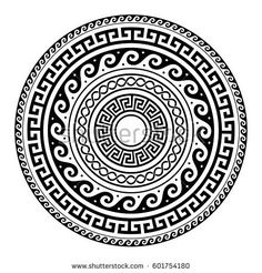 Illustration of Ancient Greek round key pattern - meander art, mandala black shape vector art, clipart and stock vectors. Mandala Art, Mandala Tattoo Design, Mandala Drawing, Circle Tattoo Design, Aztec Drawing, Tribal Tattoos, Maori Tattoos, Marquesan Tattoos, Ancient Greek Tattoo