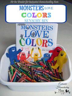 Monsters Love Colors Sensory Bin | Stir the Wonder for Enchanted Homeschooling Mom #sensorybin #sensoryplay #kitlit