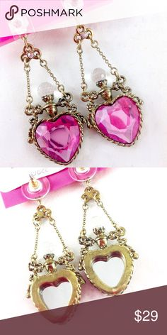 "Betsey Johnson Pink Heart Bottle Earrings NWT Brand new with tags. Authentic. Purchased at Dillard's.  Betsey Johnson pink and antiqued gold perfume bottle dangle earrings.  2"" long. Mirrors on back. Great details both sides. Betsey Johnson Jewelry Earrings"