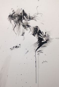 Figurative abstract ink drawing by Ewa Hauton Sketch Painting, Painting & Drawing, L'art Du Portrait, Portraits, Art En Ligne, Ink Drawings, Figure Drawing, Art Techniques, Dark Art