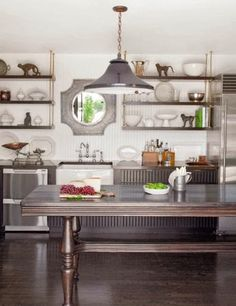 Gray and white kitchen (like the gray lowers, white beadboard on the walls, farm sink and bridge faucet) as posted on La Dolce Vita