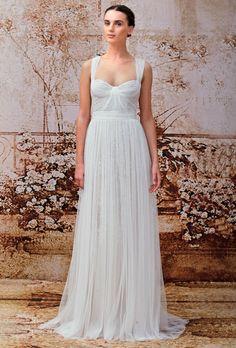 Brides.com: Monique Lhuillier - Fall 2014. Wedding dress by Monique Lhuillier