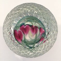 Glass Eye Studios (GES) Textured Bleeding Hearts Art-Glass Paperweight | ebay★♥★