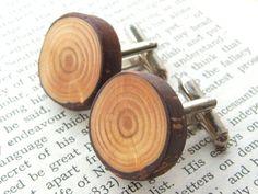 Handmade Wooden Cufflinks Gift Boxed  Larch by StairLodgeSupplies