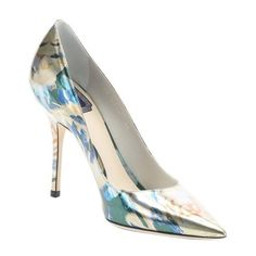 Christian Dior Silver floral print leather 'Cherie' stiletto pumps ($409) ❤ liked on Polyvore featuring shoes, pumps, heels, silver, leather pumps, metallic pumps, silver heel pumps, pointed-toe pumps and pointy-toe pumps