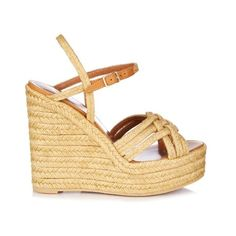 Saint Laurent Espadrille wedge sandals (€545) ❤ liked on Polyvore featuring shoes, sandals, cream, espadrille sandals, wedge espadrilles, ankle wrap wedge sandals, ankle tie sandals and braided sandals