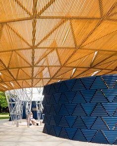 This year's Serpentine Gallery Pavilion is an indigo-blue structure designed by Burkinabe architect Diébédo Francis Kéré