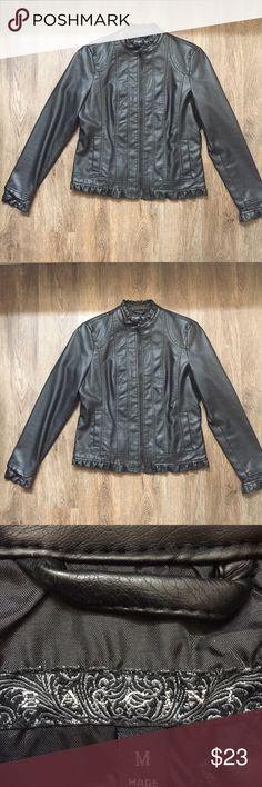 Baccini Black Leather Jacket Size Medium Super cute black faux leather jacket from Baccini! Size Medium. Baccini Jackets & Coats