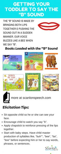 Getting Toddler to Say B Sound. Tips and book recommendations included. Articulation Therapy, Articulation Activities, Speech Therapy Activities, Language Activities, Toddler Activities, Speech Language Therapy, Speech Language Pathology, Speech And Language, Toddler Speech