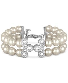 Majorica Sterling Silver Imitation Pearl and Crystal Pave Layer Bracelet
