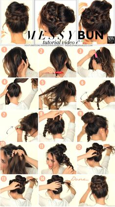 Cute 5 minute, second-day hairstyle tutorial. Learn how to create a big, messy bun, with voluminous crown braid for medium, or long hair.