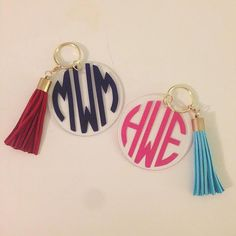 Monogrammed Key Chain with Tassel by WhiteElephantMonogrm on Etsy, $14.00 Tassel Keychain, Monogram Keychain, Preppy Keychain, Key Fobs, Car Accessories, Initials, White Elephant, Elephant Design, Irene