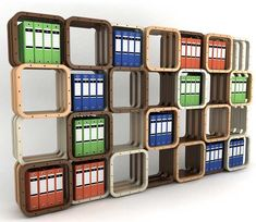Estante arquivo para fichários em módulos de madeira