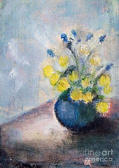 Yello flowers in blue vaze by Vesna Antic