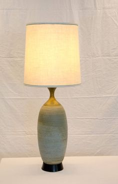 Mid Century Studio Pottery Table Lamp by Bob Kinzie | From a unique collection of antique and modern table lamps at https://www.1stdibs.com/furniture/lighting/table-lamps/