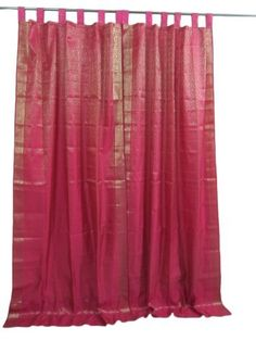 "Brocade Curtain- Pair of Magenta Gold Tab Top Sari Saree Curtains Window Treatment 96"" by Mogul Interior, http://www.amazon.com/dp/B009SIQRES/ref=cm_sw_r_pi_dp_W1gGqb1G6TBX8"