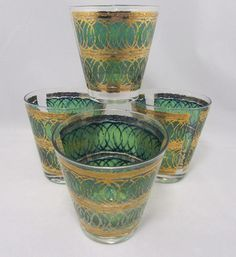 vintage georges briard glass | Vintage Georges Briard Green Gold Old Fashioned Glasses Signed Glass ...
