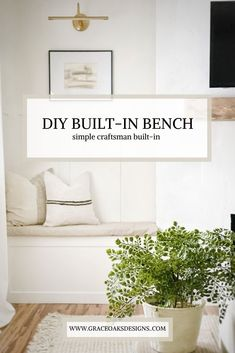 DIY built-ins. Built-in bench. DIY built-ins with fireplace. Simple and affordable DIY bench. Affordable built-ins. Simple DIY built-ins Fireplace Built Ins, Diy Fireplace, Fireplace Surrounds, Living Room Bench, Living Room With Fireplace, Built In Bench, Built In Shelves, Interior And Exterior, Interior Design