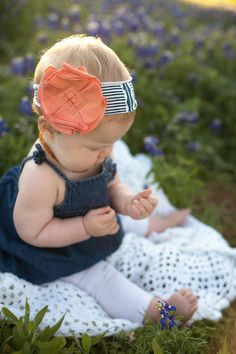cute jean baby outfit with floral headband