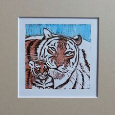 Tiger mom and her baby.. Linocut inspired by Safari - limited edition. More on www.facebook.com/woodandpaperpl
