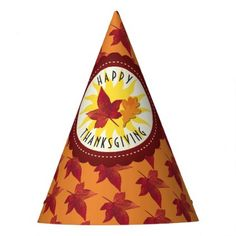 Fall Leaves Maple Thanksgiving Party Hat - rustic gifts ideas customize personalize