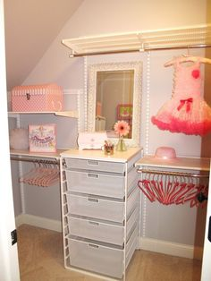 Was over the moon to do my first Girl's room! My client's daughter wanted a little girl's princess room and of course purple and pink were the… Purple Princess Room, Princess Theme Bedroom, Girls Princess Room, Princess Closet, Little Girl Closet, Simple Closet, Kids Room Design, Little Girl Rooms, My New Room