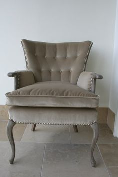 Vintage velvet wingback in almost a dove gray. I love this! From Girlonthefly on Etsy.