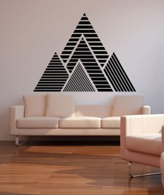Geometric Mountains Vinyl Wall Decal Sticker This geometric mountain wall decal features a simple peel and stick application. Order a mountain vinyl wall decal for your home or office today. Home Wall Decor, Diy Home Decor, Room Decor, Vinyl Wall Stickers, Wall Decal Sticker, Wall Vinyl, Decals For Walls, Window Stickers, Window Decals