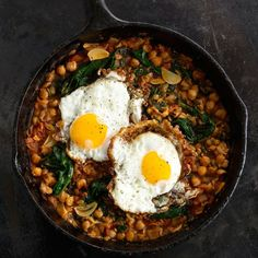 We love the frilly edges of olive         oil-fried eggs. Serve them over chickpeas for a vegetarian main.