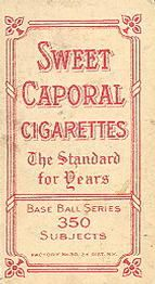 1909-11 The American Tobacco Company T206 White Border #234 Hughie Jennings (Portrait) Back