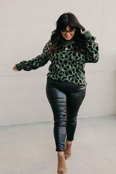 Olive Leopard Knit Sweater – Mindy Mae's Market Ampersand Avenue, Final Sale, Cooker, Tees, Shirts, Leather Pants, Electric, Knitting, Long Sleeve