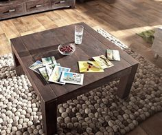 DELIFE Couchtisch Akazie Tabak 80x80 cm Massiv Sandgestrahlt, Couchtische 6284