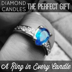 Diamond Candles - a ring in every soy candle! The perfect Christmas gift idea of all Christmas gift ideas! Add this to your Christmas Wish List if you'd love to receive a candle with a dazzling ring valued $10 to $5,000 in your candles!