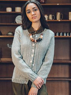 HEBRON CARDIGAN from Rowan Loves 5... Hemp Tweed and Kid Classic (ZB210) - 9 designs for women with options using Hemp Tweed & Kid Classic. Designed by Amy Herzog.| English Yarns