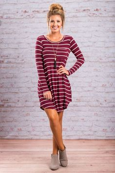 """Striped Long Sleeve Pocket Dress - Burgundy"""