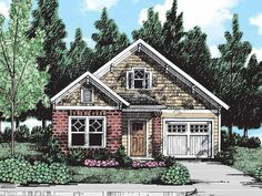 Eplans Bungalow House Plan - Smart Design for Narrow Lots - 1472 Square Feet and 2 Bedrooms from Eplans - House Plan Code 1200sq Ft House Plans, Bungalow Floor Plans, 2 Bedroom House Plans, Cottage Floor Plans, Craftsman Style House Plans, Cottage House Plans, Small House Plans, Cottage Homes, Craftsman Homes
