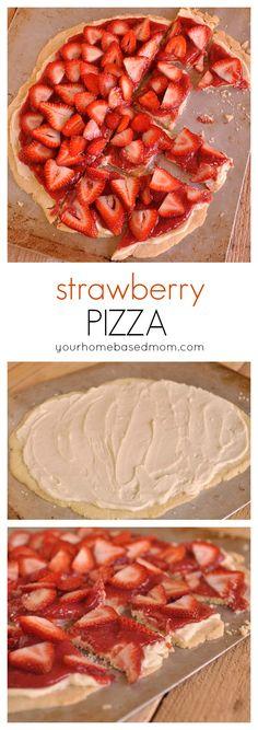 Strawberry Pizza - a fun and delicious dessert pizza idea from yourhomebasedmom.com