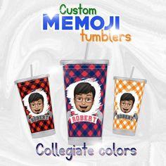 Custom Memoji Tumbler  Collegiate colors great gift for image 0