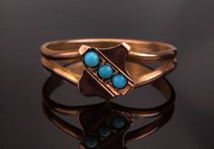 Georgian Turquoise Ring in Rose Gold Antique by BelmontandBellamy