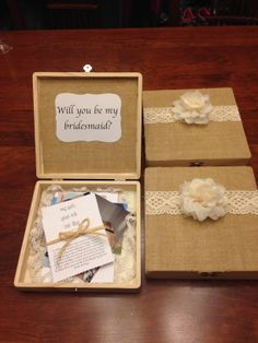 Bridesmaids boxes I made for all of amazing bridesmaids<3