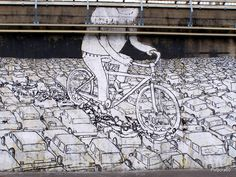 """Bikes Crushing Cars"" Italian graffiti artist Blu in Milian, 2009."