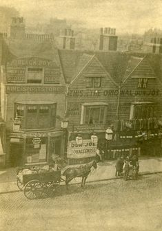 """""""Mile End Road 1900 We are open till 8 tonight if you wish to drop in and see some more historical photographs. Victorian London, Vintage London, Old London, London History, British History, Old Photography, Street Photography, Black Boy Pub, Old Pictures"""