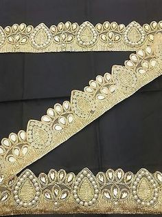 Fancy Gold Bridal Lace Trim Ribbon Sewing Craft Wedding Saree Border by 1  Yard d2f5c812d57c