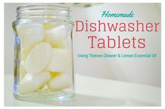 Recipe for Homemade Dishwasher Tablets... easy, cheap & natural. Uses Lemon essential oil and Thieves Cleaner.