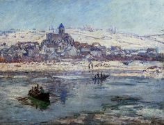 Vetheuil in Winter by Claude Monet-Streched Canvas Print
